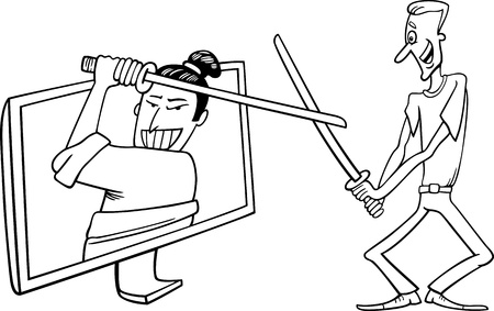 playing video game: Black and White Cartoon Illustration of Funny Man Fighting with Samurai or Watching Interactive Digital Television or Playing Video Game