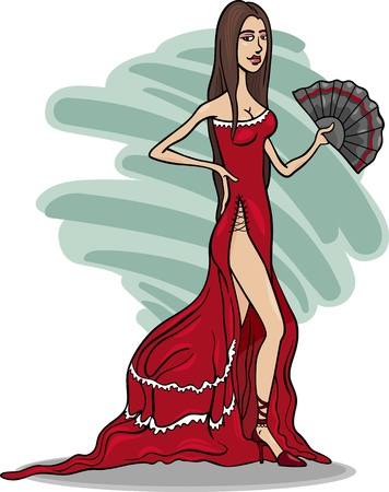 Cartoon Illustration of Beautiful Sexy Woman in Red Dress or Gown or Spanish Dancer