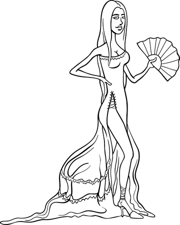 flamenco dancer: Black and White Cartoon Illustration of Beautiful Sexy Woman in Dress or Gown or Spanish Dancer