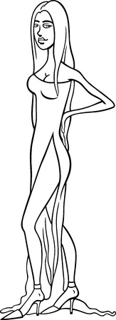 Black and White Cartoon Illustration of Beautiful Sexy Woman in Dress or Gown