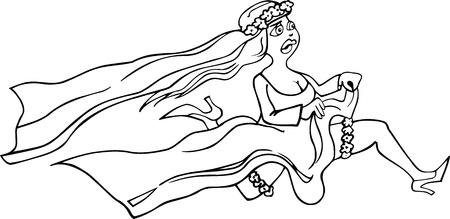 Historieta blanco y negro Ilustración de Running Mujer Novia en vestido blanco