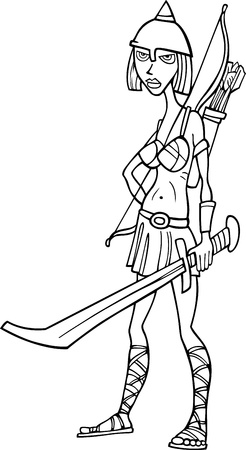 Black and White Cartoon Illustration of Warr Woman or Sexy Girl in Knight Costume Stock Vector - 18765007
