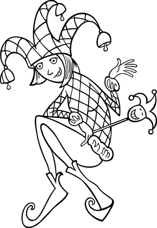 buffoon: Black and White Cartoon Illustration of Woman in Jester or Joker Costume Illustration