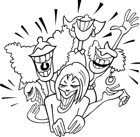chuckle: Black and White Cartoon Illustration of Women Group Having Fun and Laughing Illustration