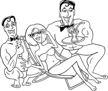 Black and White Cartoon Illustration of Cute Woman in Bikini on the Beach with Two Handsome Men Vector