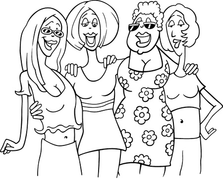 Black and White Cartoon Illustration of Four Women Friends Meeting
