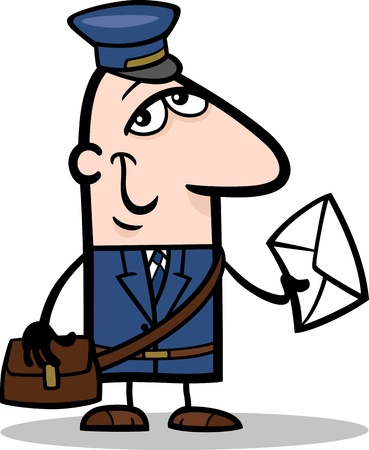 mailman: Cartoon Illustration of Funny Postman with Letter Profession Occupation