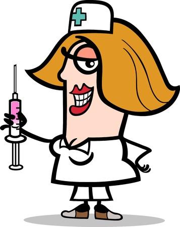 cartoon medical: Cartoon Illustration of Funny Female Nurse with Syringe Profession Occupation