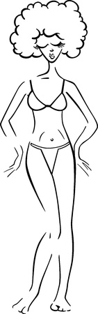Black and White Cartoon Illustration of Cute Pretty Woman in Bikini or Swimsuit or Bathing Costume Vector