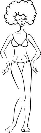 bikini cartoon: Black and White Cartoon Illustration of Cute Pretty Woman in Bikini or Swimsuit or Bathing Costume
