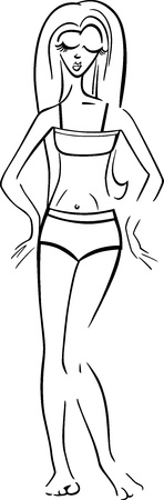 bathing suit: Black and White Cartoon Illustration of Cute Pretty Woman in Bikini or Swimsuit or Bathing Suit