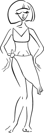 Black and White Cartoon Illustration of Cute Pretty Woman in Bikini or Swimsuit or Swimwear Vector