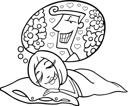 dreamer: Black and White Cartoon Illustration of Cute Funny Woman in Love Dreaming about a Man