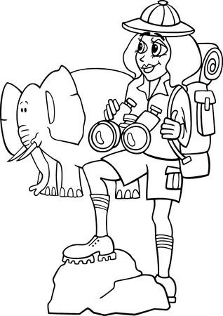 binoculars: Black and White Cartoon Illustration of Cute Woman Traveler on African Safari with Elephant for Coloring Illustration