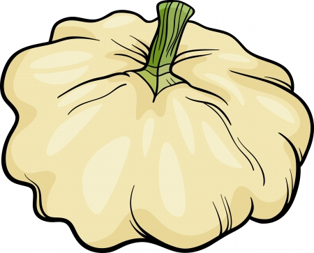 Cartoon Illustration of Patison Vegetable Food Object Vector