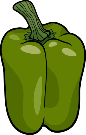 Cartoon Illustration of Green Pepper or Paprika Vegetable Food Object