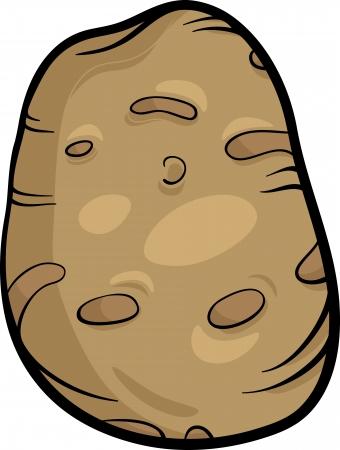 root vegetables: Cartoon Illustration of Potato Vegetable Food Object