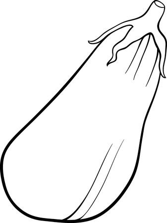 berenjena: Blanco y negro de dibujos animados de ilustraci�n de Berenjena Vegetales Objeto Alimentos para Coloring Book