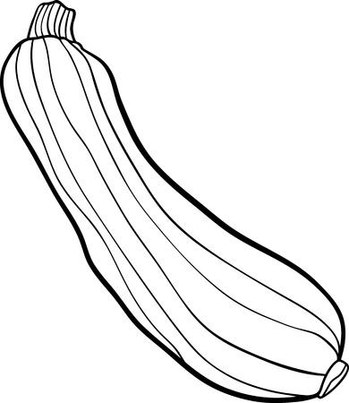 calabacin: Blanco y negro de dibujos animados de ilustración de Green Zucchini objeto Vegetal Alimentos para Coloring Book Vectores