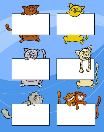 Cartoon Illustration of Funny Cats with Blank Cards or Boards Greeting or Business Card Design Set Vector