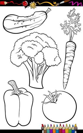 pepino caricatura: Coloring Book o p�gina de dibujos animados de blanco y negro verduras comida Objetos Set