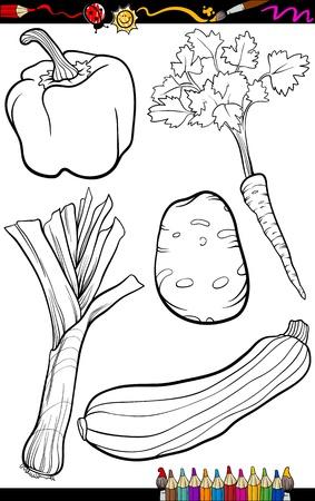 Coloring Book of Pagina Cartoon Illustratie van zwart-wit Groente Voedsel Objects Set