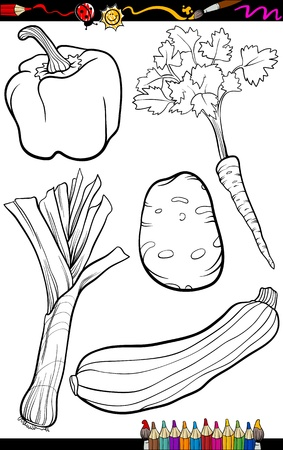 Coloring Book or Page Cartoon Illustration of Black and White Vegetables Food Objects Set Vector