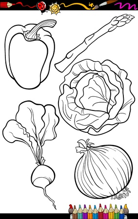 cabbage: Coloring Book or Page Cartoon Illustration of Black and White Vegetables Food Objects Set