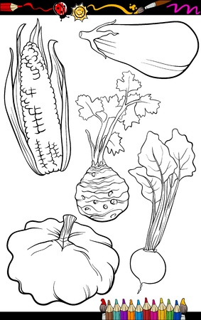 beet root: Coloring Book or Page Cartoon Illustration of Black and White Vegetables Food Objects Set