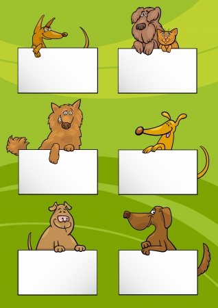 mongrel: Cartoon Illustration of Cute Dogs or Puppies with White Cards or Boards Greeting or Business Card Design Set Illustration