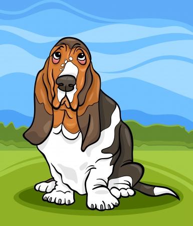 basset hound: Ilustraci�n de dibujos animados de lindo Basset Hound Perro de pura raza y de paisajes campestres