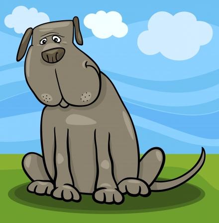 Cartoon Illustration of Funny Big Gray Sitting Dog Stock Vector - 19087113