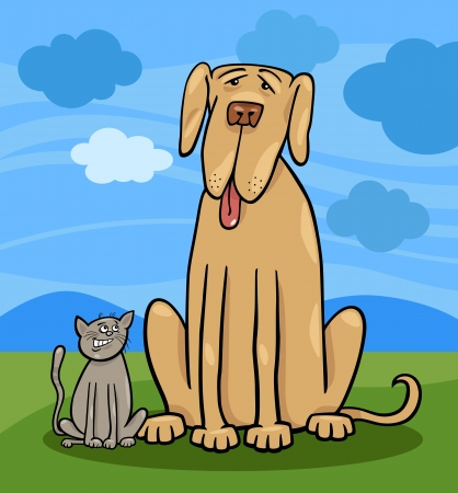 Cartoon Illustration of Cute Small Cat and Funny Big Dog or Great Dane in Friendship and Rural Scene Stock Vector - 19087123