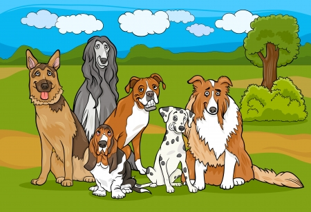 Cartoon Illustration of Cute Purebred Dogs or Puppies Group against Rural Landscape or Park Scene Vector