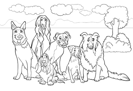 page long: Black and White Cartoon Illustration of Cute Purebred Dogs or Puppies Group against Rural Landscape or Park Scene for Coloring Book
