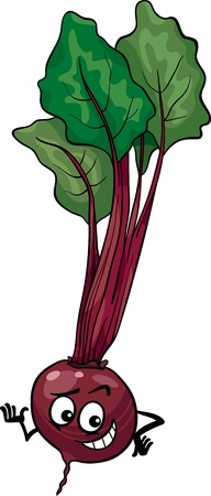 beet root: Cartoon Illustration of Funny Beet Vegetable Food Character
