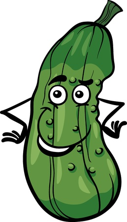 pepino caricatura: Ilustración de dibujos animados de Funny pepino vegetal Carácter Del Alimento Vectores