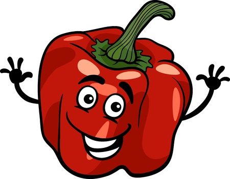 Cartoon Illustration of Funny Red Pepper or Paprika Vegetable Food Character