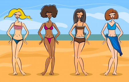cartoon bathing: Cartoon Illustration of Cute Beautiful Women in Different Types of Bikini or Swimsuit or Bathing Suit Illustration