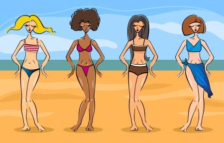 personas banandose: Ilustración de dibujos animados de lindo mujeres hermosas en diferentes tipos de bikini o traje de baño o bañador