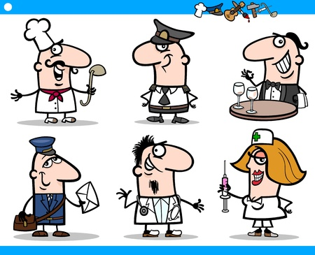 Cartoon Illustration of Funny Professional People Occupations Characters Set Vector