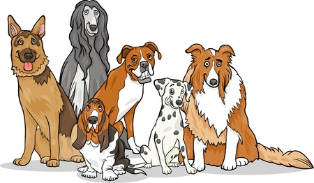 sheepdog: Cartoon Illustration of Cute Purebred Dogs or Puppies Group