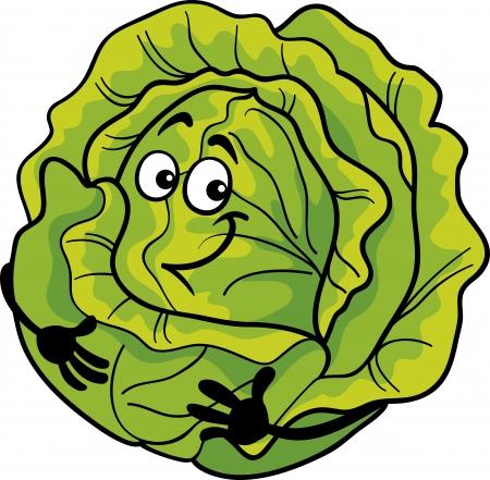 cabbage: Cartoon illustratie van grappige Comic groene kool of sla Groente Eten Karakter