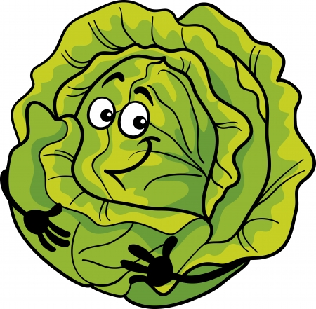 diet cartoon: Cartoon Illustration of Funny Comic Green Cabbage or Lettuce Vegetable Food Character