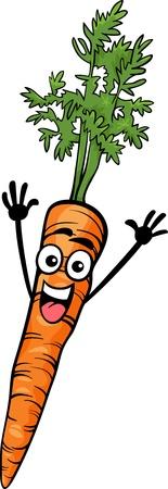 zanahoria caricatura: Ilustración de dibujos animados de Funny Comic Zanahoria Tubérculo Carácter Del Alimento