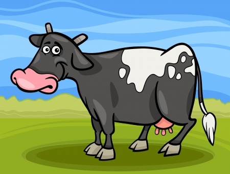 Cartoon Illustration of Funny Spotted Milk Cow Farm Animal Vector