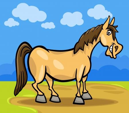 steed: Cartoon Illustration of Funny Comic Horse Animal on the Farm Illustration