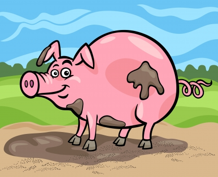 Cartoon Illustration of Funny Comic Pig Farm Animal in Mud Stock Vector - 19139584