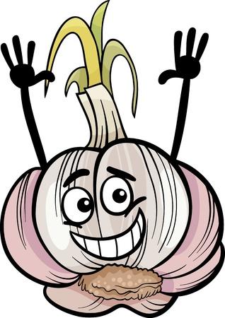 Cartoon Illustration of Funny Comic Garlic Head Vegetable Food Character Vector