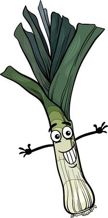 leek: Cartoon Illustration of Funny Comic Leek Vegetable Food Character